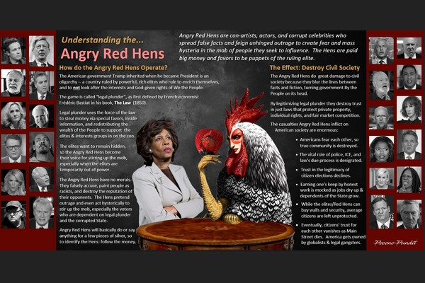 Angry Red Hens: Con-Artists who Destroy Civil Society as Puppets of the Elite