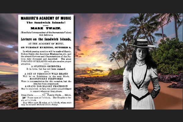 Mark Twains Ad for Lecture on Sandwich Islands (Hawaii)