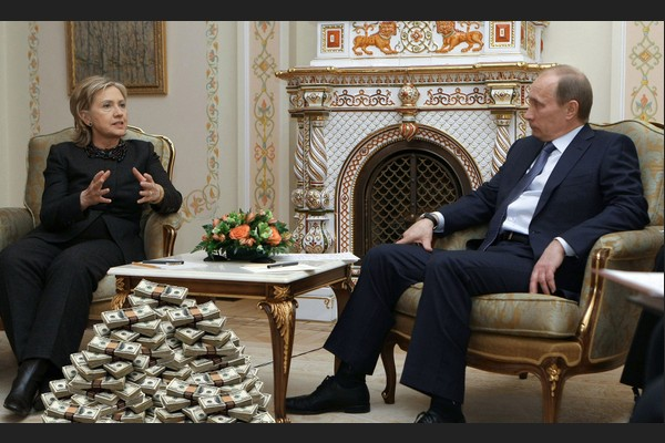 Putin and Hillary with Stacks of Cash