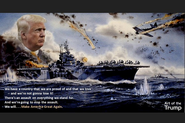 Trump on Intrepid at the Battle of Okinawa