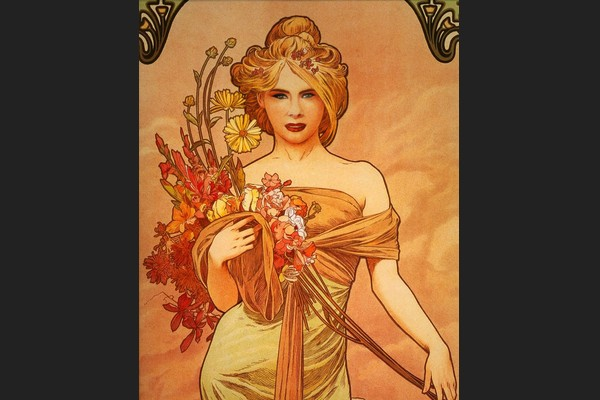 Melania in Alphonse Mucha's Spring Bouquet