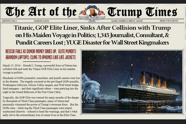 Titanic GOP Elite Liner Sinks After Collision with Trump on His Maiden Voyage
