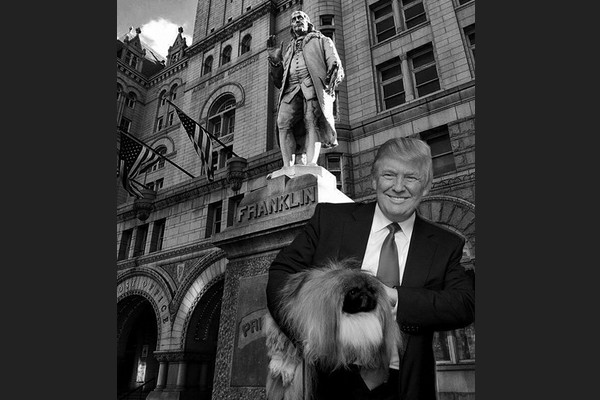 Trump and a Hairy Dog in Front of Ben Franklin Statue (Fake)